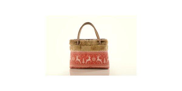 Dámska béžová kabelka Elite Goby s jeleňmi