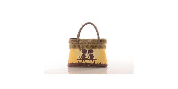 Dámska béžová kabelka Elite Goby so zamilovanou dvojicou