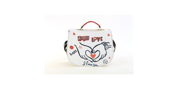 Dámska lakovaná kabelka Elite Goby so zamilovanou potlačou