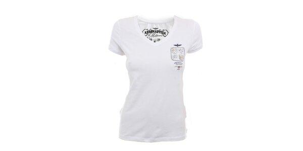 Dámske biele tričko s výstrihom do V Aeronautica Militare