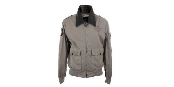 Pánska šedá ľahká bunda na zips Aeronautica Militare