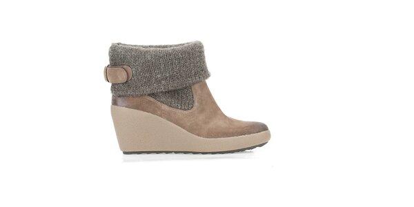 Dámske hnedé zimné topánky s úpletom Clarks
