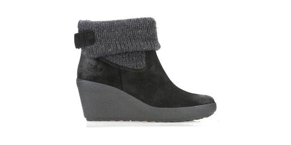 Dámske čierne zimné topánky s úpletom Clarks