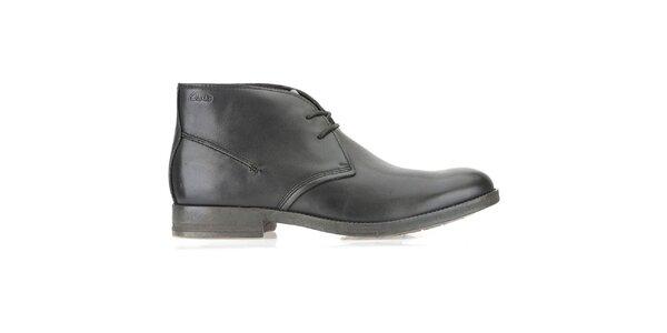Pánske kožené členkové čierne topánky Clarks