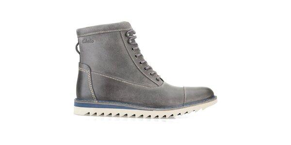 Pánske vysoké šedé šnurovacie topánky Clarks