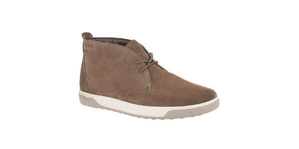 Pánske svetlo hnedé semišové šnurovacie topánky Clarks