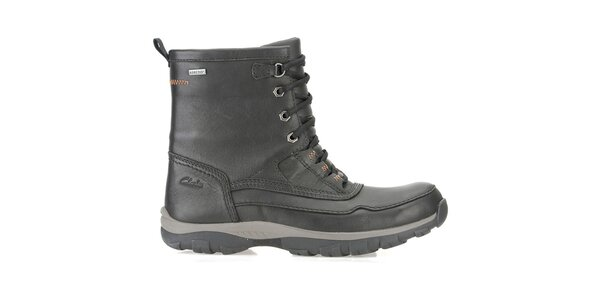 Pánske čierne vysoké goretexové kožené topánky Clarks