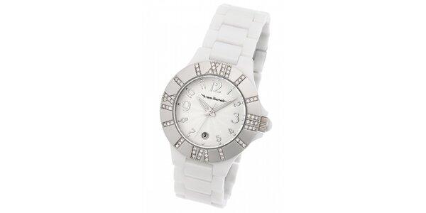 Dámske ocelové hodinky Yves Bertelin s kamienkami a bielym keramickým remienkom
