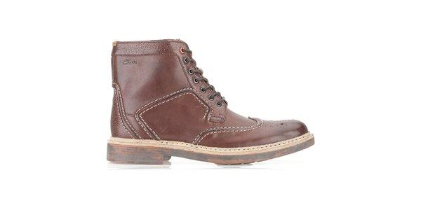 Pánske čokoládovo hnedé kožené topánky Clarks na zaväzovanie