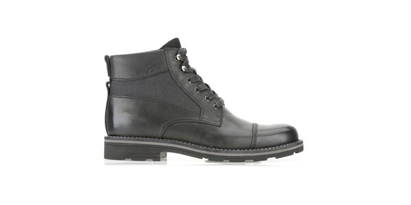 Pánske vysoké šnurovacie čierne kožené topánky Clarks