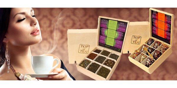 Drevená darčeková kazeta s 9 druhmi čajov