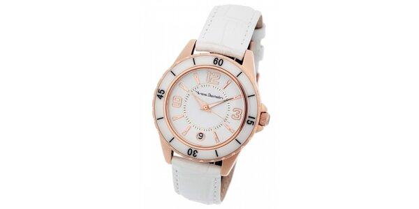 Dámske zlaté hodinky Yves Bertelin s bielym koženým remienkom