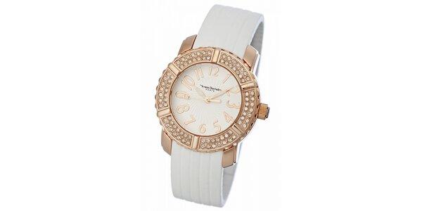 Dámske zlaté hodinky Yves Bertelin s bielym pryžovým remienkom