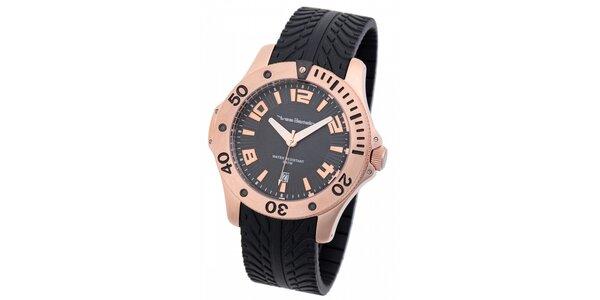 Pánske zlaté hodinky Yves Bertelin s čiernym pryžovým remienkom