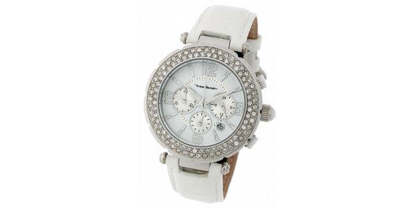 Dámske ocelové hodinky Yves Bertelin s kamienkami a bielym koženým remienkom