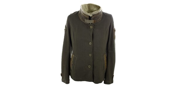 Dámsky hnedý kabát s ovčou kožušinkou Aeronautica Militare