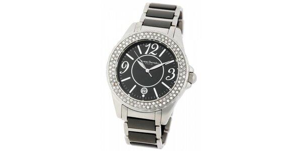 Dámske ocelové hodinky Yves Bertelin s čiernym keramickým remienkom