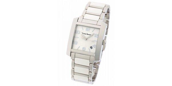 Dámske ocelové hodinky Yves Bertelin s bielym keramickým remienkom