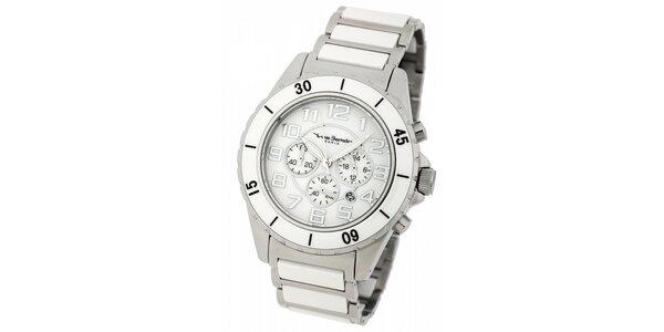 Pánske ocelové hodinky Yves Bertelin s bielym keramickým remienkom