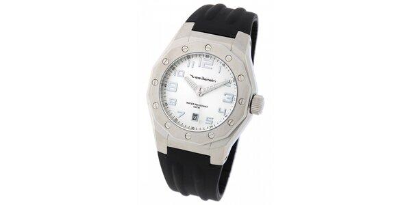 Pánske ocelové hodinky Yves Bertelin s čiernym pryžovým remienkom