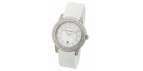 Dámske ocelové hodinky Yves Bertelin s kamienkami a bielym pryžovým remienkom