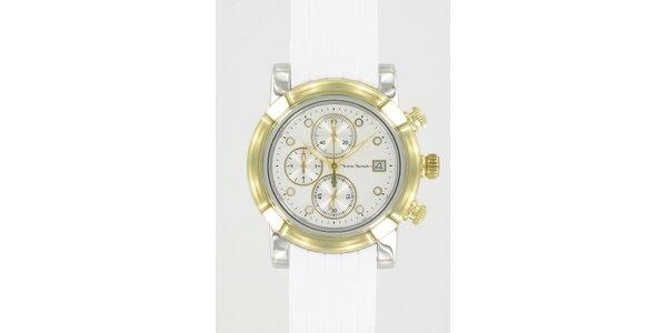 Ocelové hodinky Yves Bertelin so zlatými detailami a bielym pryžovým remienkom