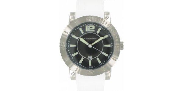 Pánske ocelové hodinky Yves Bertelin s bielym pryžovým remienkom
