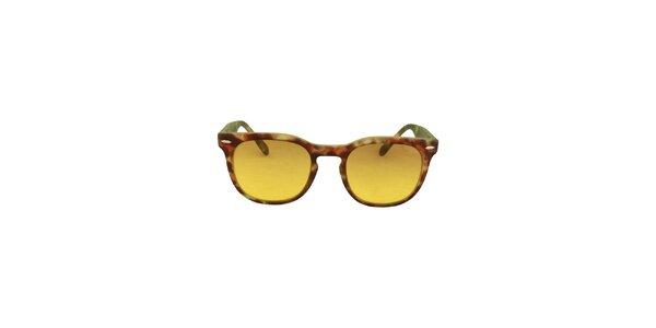 Hnedo-zelené slnečné okuliare so žltými sklami No Limits