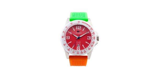 Farebné analógové hodinky s červeným ciferníkom No Limits