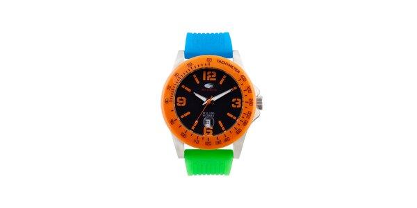 Oranžovo-modro-zelené analógové hodinky No Limits