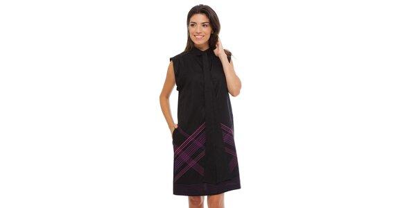 Dámske čierne šaty Strena s viazankou