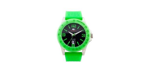Neonovo zelené analógové hodinky No Limits