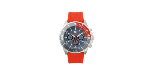 Šedo-červené analógové hodinky s minerálnym sklíčkom No Limits