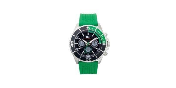 Zeleno-čierne analógové hodinky s minerálnym sklíčkom No Limits