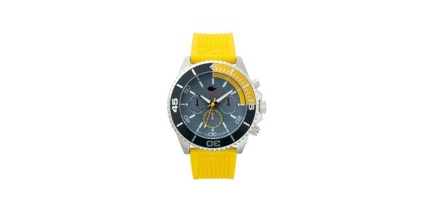 Žlté analógové hodinky s minerálnym sklíčkom No Limits