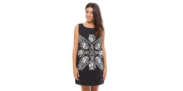 Dámske čierne šaty Strena s bielou výšivkou