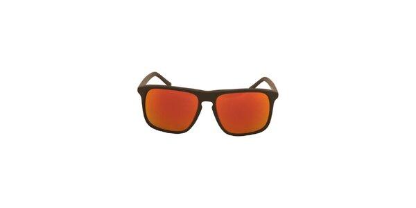 Čierne slnečné okuliare s oranžovo-červeno zafarbenými sklami No Limits