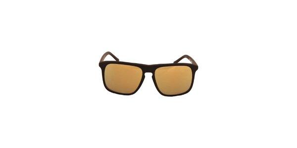 Čierne slnečné okuliare so zrkadlovo zlatými sklami No Limits