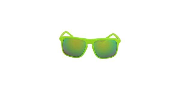 Neonovo zelené hranaté slnečné okuliare No Limits so zrkadlovými sklíčkami