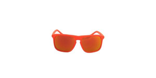 Oranžové hranaté slnečné okuliare No Limits so zrkadlovými sklíčkami