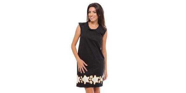 Dámske čierne šaty Strena s potlačou