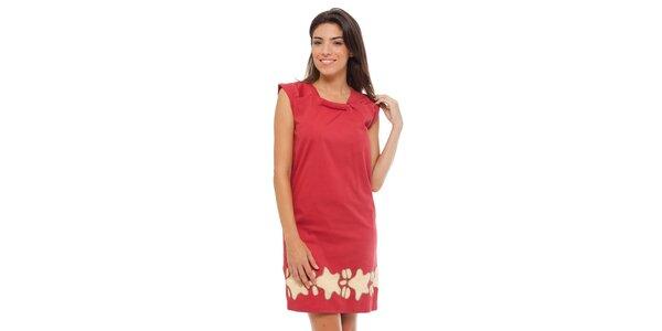 Dámske červené šaty Strena s potlačou