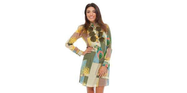 Dámske hodvábne šaty Strena s farebnou potlačou