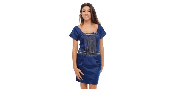 Dámske tmavo modré saténové šaty Strena s retiazkou