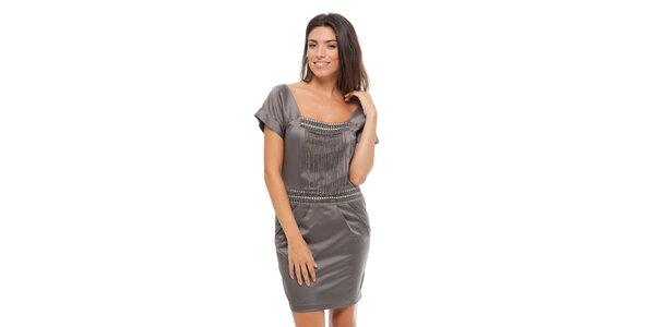 Dámske ocelovo šedé saténové šaty Strena s retiazkou
