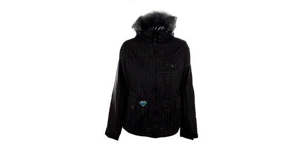 Dámska čierna snowboardová bunda s farebnými prúžkami Meat Fly