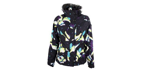Dámska čierna snowboardová bunda s farebnou potlačou Meat Fly