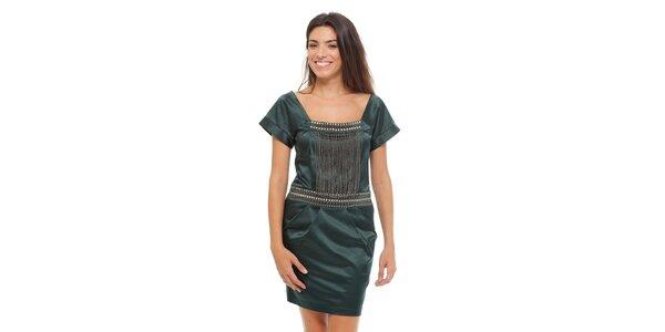 Dámske tmavo zelené saténové šaty Strena s retiazkou