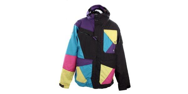 Pánska čierna funkčná bunda s farebnými plochami Meat Fly
