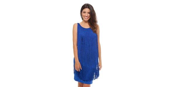 Dámske žiarivo modré šaty Strena so strapcami